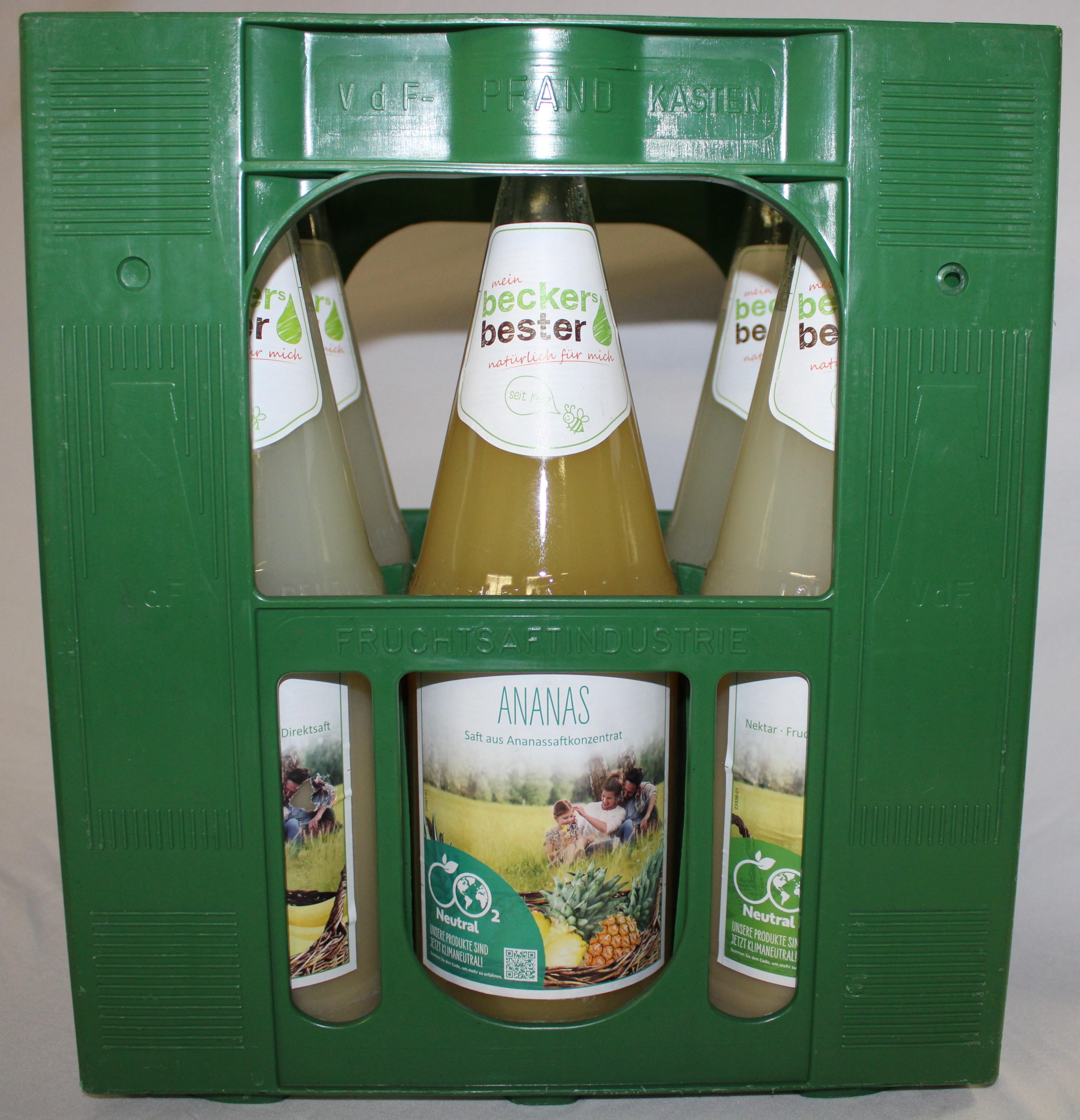 Beckers Ananas 6x1,0l Mehrweg Glas